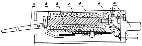 Рис. 146. Электрическая удочка: а - хлыстик; б - реле РКМ; в - первый контакт; г - второй контакт; д - корпус; е - скоба; ж - цоколь от радиолампы